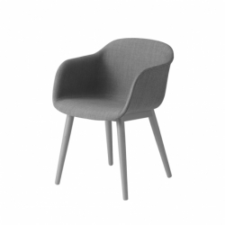 FIBER ARMCHAIR wooden legs fabric shell - Dining Armchair -  -  Silvera Uk