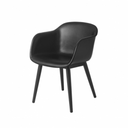 FIBER ARMCHAIR wooden legs leather shell - Dining Armchair -  -  Silvera Uk