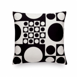 MAHARAM GEOMETRI BLACK & WHITE Cushion - Cushion -  -  Silvera Uk