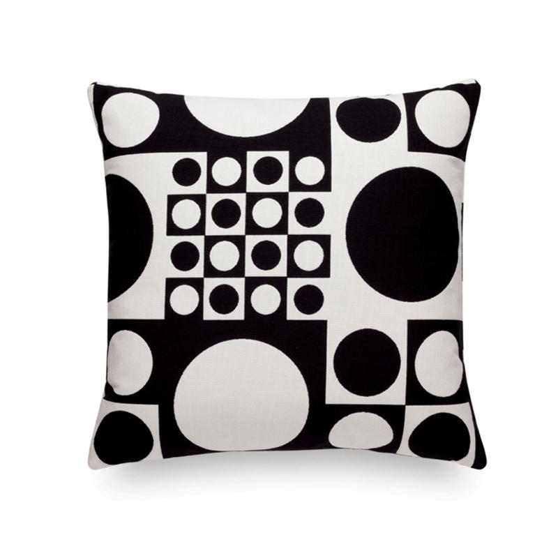 MAHARAM GEOMETRI BLACK & WHITE Cushion - Cushion - Accessories - Silvera Uk