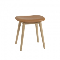 FIBER STOOL wooden legs leather seat - Stool - Designer Furniture -  Silvera Uk