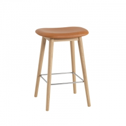 FIBER BAR STOOL wooden legs leather seat H65 - Bar Stool - Designer Furniture -  Silvera Uk
