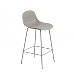 FIBER BAR STOOL with backrest Steel legs H65 - Bar Stool -  -  Silvera Uk