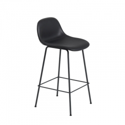 FIBER BAR STOOL with backrest steel legs H65 siège leather - Bar Stool - Designer Furniture -  Silvera Uk