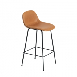 FIBER BAR STOOL with backrest steel legs H65 leather seat - Bar Stool - Showrooms -  Silvera Uk