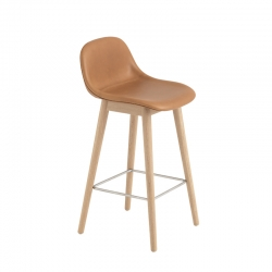 FIBER BAR STOOL with backrest wooden legs leather seat H65 - Bar Stool - Designer Furniture -  Silvera Uk