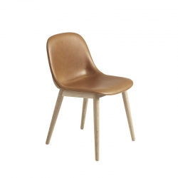 FIBER CHAIR wooden legs leather shell - Dining Chair -  -  Silvera Uk