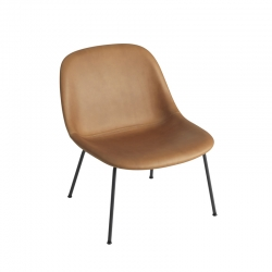 FIBER LOUNGE Leather shell/Steel legs - Easy chair -  -  Silvera Uk