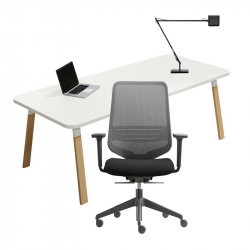 ATREO WOOD Desk - DOT.HOME Chair - KELVIN LED Lamp Pack - Home Office Pack - Silvera Contract -  Silvera Uk
